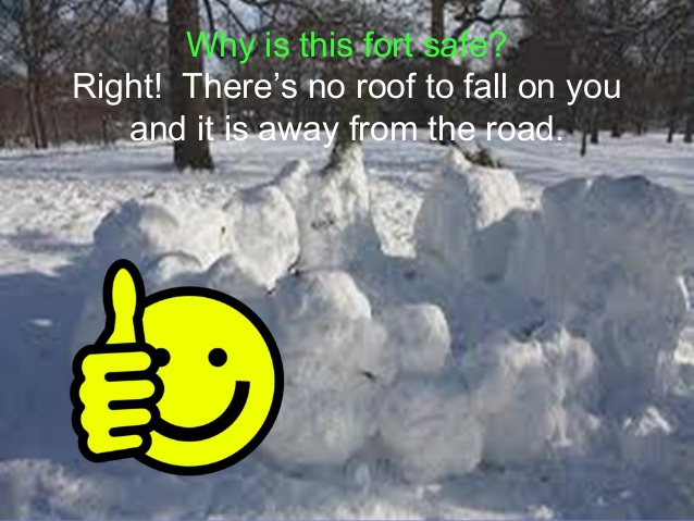 image of a snow fort with no roof showing snow forts with roofs are dangerous